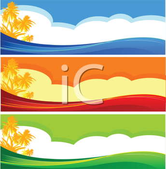 Royalty Free Clipart Image of Tropical Beach Banners