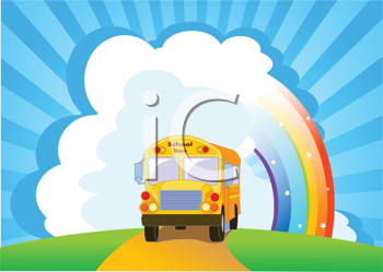 Royalty Free Clipart Image of a Bus Against a Rainbow
