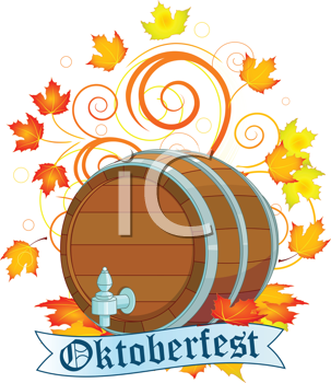 Royalty Free Clipart Image of an Oktoberfest Barrel With Autumn Leaves