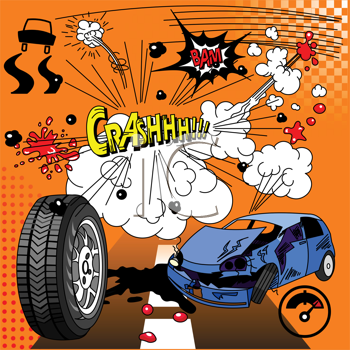 Royalty Free Clipart Image of a Comic Book Crash Elements