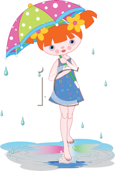 Royalty Free Clipart Image of a Girl Under an Umbrella