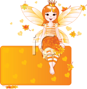 Royalty Free Clipart Image of an Autumn Princess Fairy