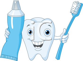 Royalty Free Clipart Image of a Tooth, Brush and Paste