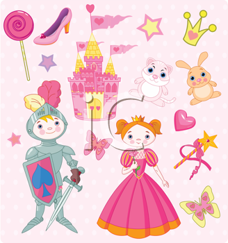 Royalty Free Clipart Image of a Set of Fairy Tale Images