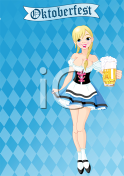 Royalty Free Clipart Image of a German Serving Girl For Oktoberfest