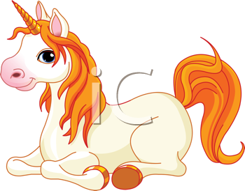 Lovely  unicorn with red mane and tail is resting and looking at us