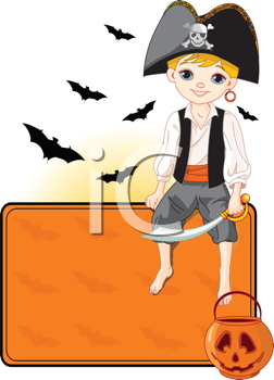 Illustration for Halloween with a cute pirate sitting on place card. All objects are separate groups