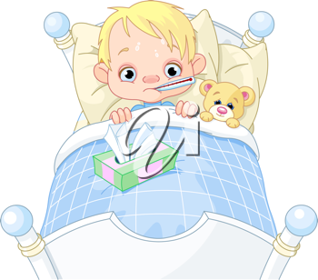 Cartoon illustration of cute sick boy in bed