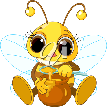 Illustration of Cute Bee eating honey