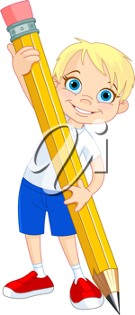 Illustration of Little Boy and Giant Pencil