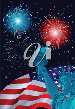 Royalty Free Clipart Image of the Statue of Liberty and Fireworks