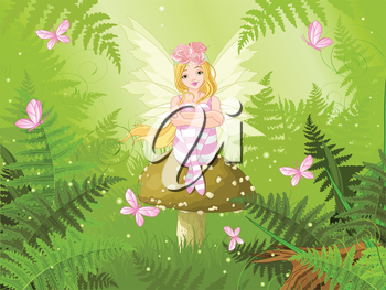 Royalty Free Clipart Image of a Fairy on a Toadstool