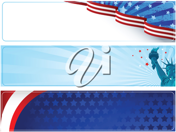 Royalty Free Clipart Image of a Set of American Banners
