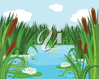 Royalty Free Clipart Image of a Pond