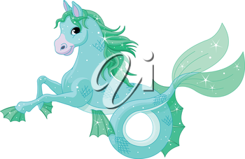 Royalty Free Clipart Image of a Mythical Seahorse