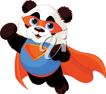 Royalty Free Clipart Image of a Superhero Panda