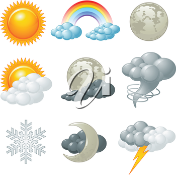 Royalty Free Clipart Image of Weather Elements