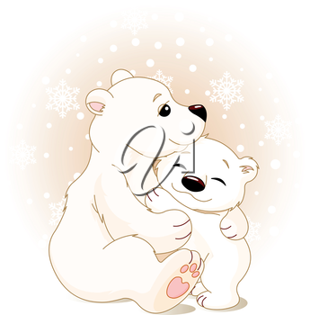 Royalty Free Clipart Image of a Mother Bear Hugging a Baby Bear