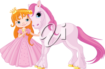 The beautiful princess and cute unicorn