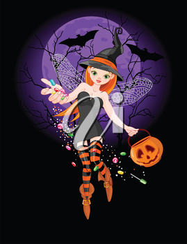 Illustration of trick or treating witch on  the night background