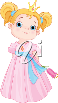 Illustration of Cute Little Princess Holds Flower