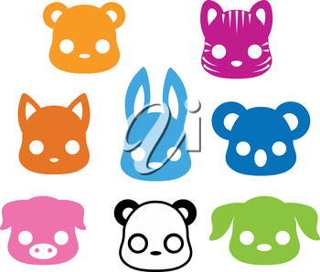 Illustration of cute animal silhouette collection