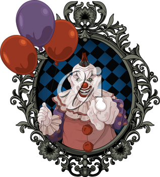 The scary clown holds balloons