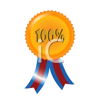 Royalty Free Clipart Image of a 100 Per Cent Badge