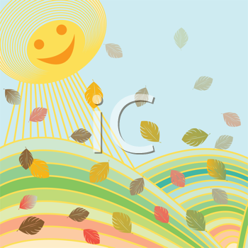 Royalty Free Clipart Image of Autumn Leaves Falling and the Happy Sun Shining