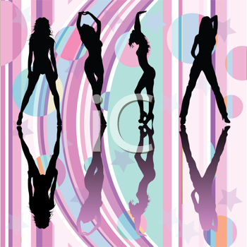Royalty Free Clipart Image of Dancing Girls Silhouettes