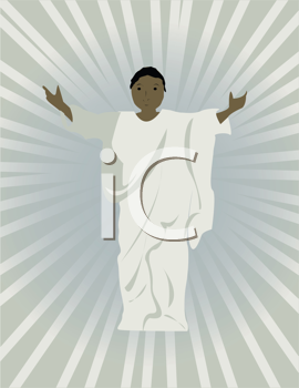 Royalty Free Clipart Image of Jesus With Outstretched Arms