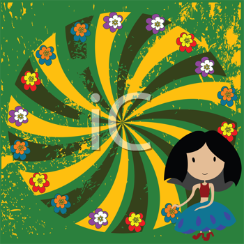 Royalty Free Clipart Image of a Little Girl Beside a Floral Wheel