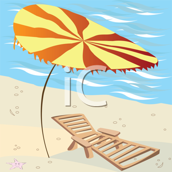 Royalty Free Clipart Image of a Lounger and Umbrella on the Beach