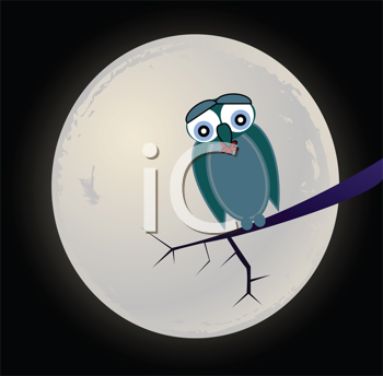 Royalty Free Clipart Image of a Sad Old Owl