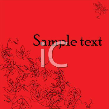 Royalty Free Clipart Image of a Red Background With Grapevine Leaves in the Corner