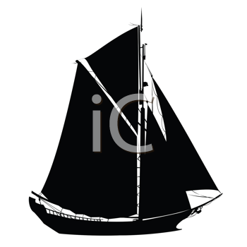 Royalty Free Clipart Image of a Silhouette of a Sailboat