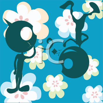 Royalty Free Clipart Image of Stylized Silhouettes With Flowers
