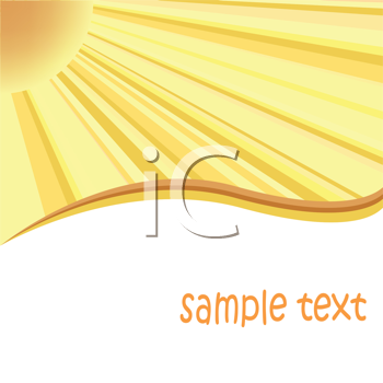 Royalty Free Clipart Image of a Card With a Sunburst in the Top Left Corner