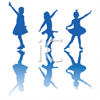 Royalty Free Clipart Image of Little Ballerinas