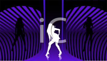 Disco background with dancin silhouettes
