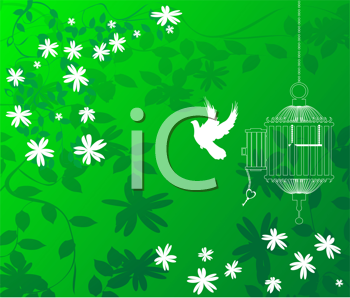 A green floral background with a bird flying out of a cage