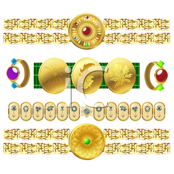 golden elements of jewelery, isolated and grouped elements over white background
