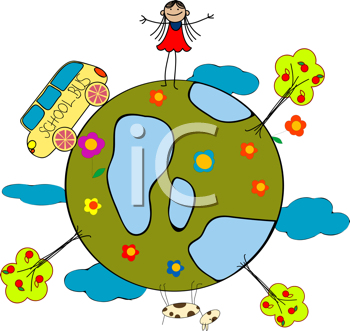 Childlike drawing with little girl, school bus and globe over white background