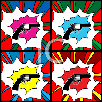 Pop art pistol, clip art illustration, icons