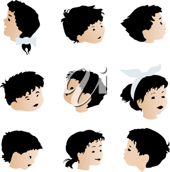 Children faces, expressions set. Isolated objects on white background.