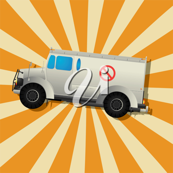 Retro art drawing of a armored truck and shadow over a stripped background.