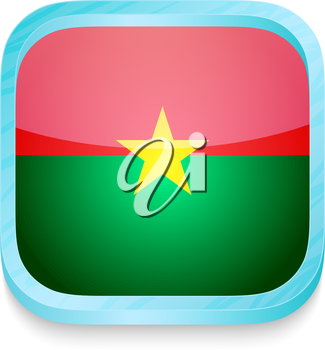 Smart phone button with Burkina Faso flag