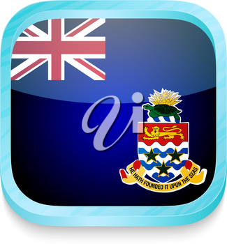 Smart phone button with Cayman Islands flag