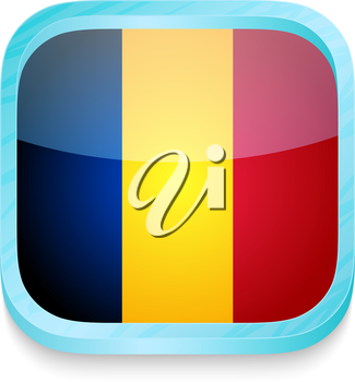 Smart phone button with Romania flag
