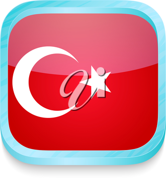 Smart phone button with Turkey flag